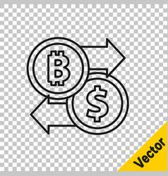 black line cryptocurrency exchange icon isolated vector image