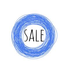 Blue circle sale grunge promotion banner scratched vector