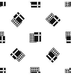 box with chocolates pattern seamless black vector image