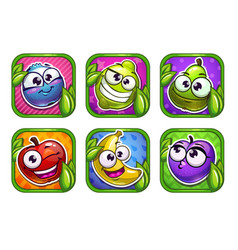 bright cartoon app icons with funny fruits and vector image