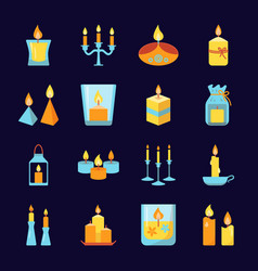 burning candle icons set in flat style vector image
