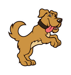 Cartoon dog character standing on hind legs vector