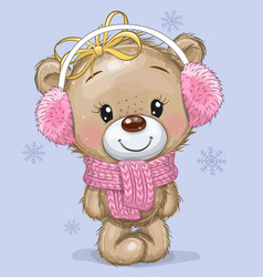 cartoon teddy bear in a knitted scarf and fur vector image
