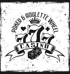 Casino gambling emblem on grunge background vector