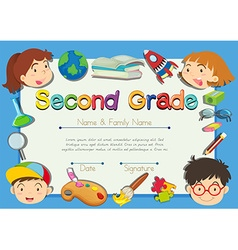 Certificate with children in background vector
