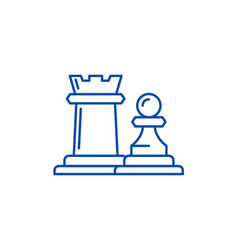 Chess pieces rook and pawn line icon concept vector