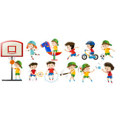 Children playing different sports and game vector