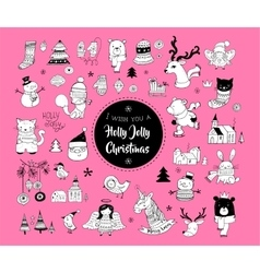 Christmas hand drawn cute doodles and elements vector image