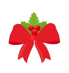christmas red ribbon xmas symbol vector image