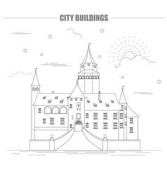 City buildings graphic template Bousov castle vector image