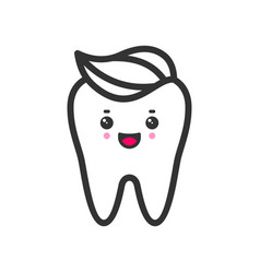 Clean tooth with a toothpaste with emotional face vector