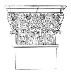 Corinthian capital support vintage engraving vector