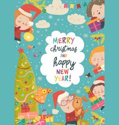 Cute christmas frame with funny cartoon children vector