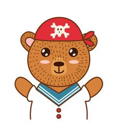 cute pirate bear brown grizzly animal in a red vector image
