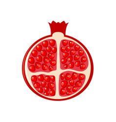 cutting pomegranate half pomegranate vector image