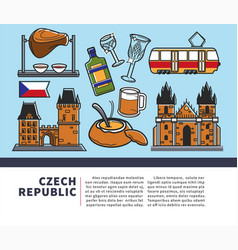 czech republic symbols on promotional poster for vector image