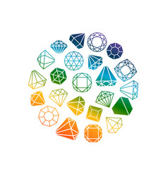 diamonds icons round banner vector image