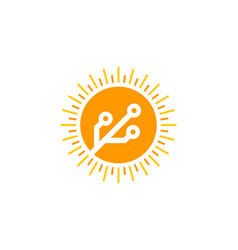 digital sun logo icon design vector image