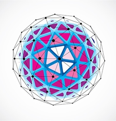 Dimensional wireframe low poly object purple vector