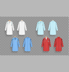 Doctor coat in different colors lab uniform vector