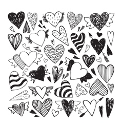 Doodle hearts set vector image