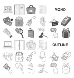 E-commerce purchase and sale monochrom icons in vector