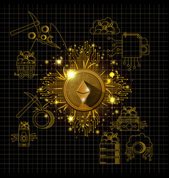 Ethereum mining set icons vector