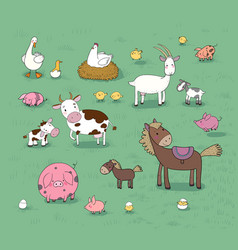 Farm animals cute cartoon horse cow and goat vector
