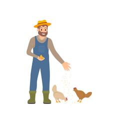 Farmer feeding chickens hens vector