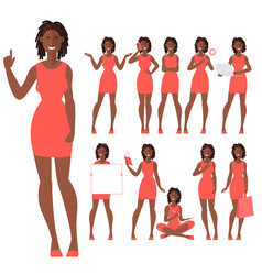 flat design characters a young afro american woman vector image