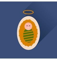 Flat icon with long shadow newborn Jesus Christ vector