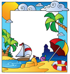 frame with summertime theme 1 vector image