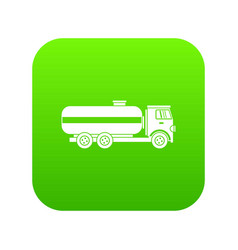 fuel tanker truck icon digital green vector image