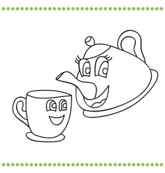 Funny teapot and cup - coloring book vector image
