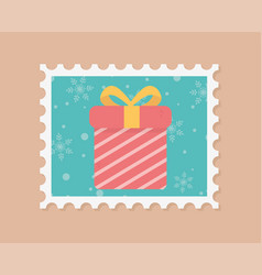 gift box celebration happy christmas stamp vector image