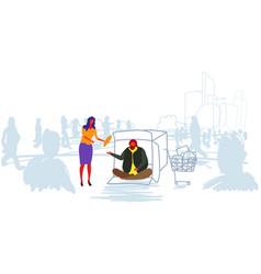 Girl giving food to poor man sitting in cardboard vector