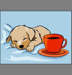 Golden retriever puppy taking a nap on sheets vector