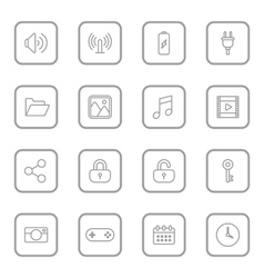 Gray line web icon set rounded rectangle frame vector