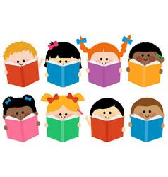 group children reading books vector image