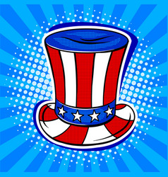 Hat in coloring of american flag pop art vector