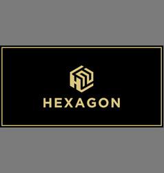 hn hexagon logo design inspiration vector image