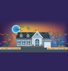 house facade decorated for halloween night vector image