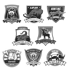 Hunting club safari hunt open season icons vector