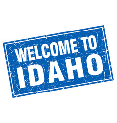 Idaho blue square grunge welcome to stamp vector