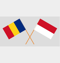 Indonesian and romanian flags vector