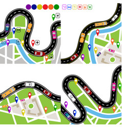infographics set of winding roads with signs vector image
