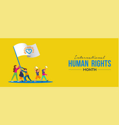 International human rights card of people parade vector