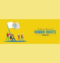 International human rights card people parade vector