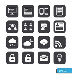 internet icons set vector image