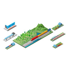 isometric railway transport concept vector image